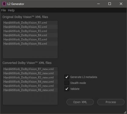 Dolby Vision L2 Generator creates missing L2 Metadata